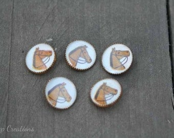 Vintage Horse Buttons Set of 5