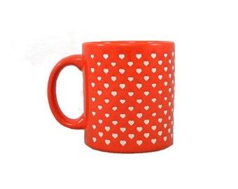 Vintage Mug Waechtersbach Red White Hearts Germany