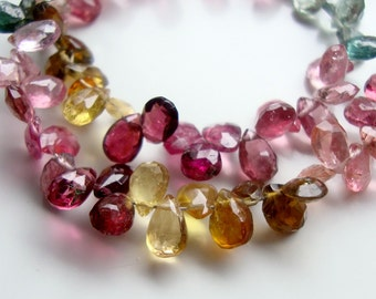 Natural Pink Yellow Blue Green Tourmaline Faceted Pear Briolette,28% off, Very pretty, 1/2 Strand, 5-6x3.5-4mm - o3-5