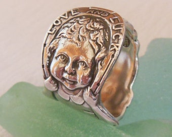 Antique Spoon Ring  Sterling Silver  Love and Luck    Size 6