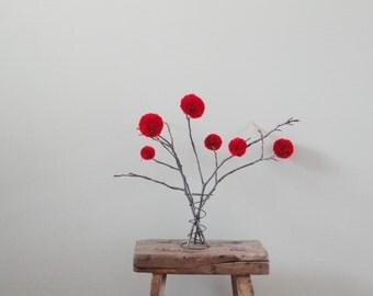 Red Pom Pom Flowers - Christmas Holiday Decor - Minimalist Centerpiece - Rustic Country Weddings - Baby Nursery Decor - Shower/Party Decor