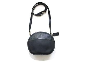 Vintage Coach Bag / Coach Chester Bag / Mini Coach Bag / Black Leather Coach Purse / Circle Bag