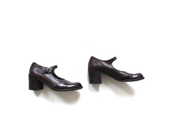 Vintage Leather Mary Janes 6.5 / DKNY Heels / Brown Leather Heels / 90s Pumps