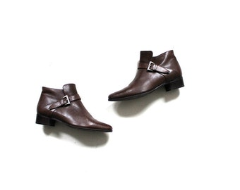 Vintage Ankle Boots 6.5 / Brown Leather Boots / Buckle Boots / Leather Ankle Boots