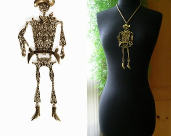 HUGE Statement Necklace - Big Articulated COWBOY Pendant Necklace - Brass Gold - Western - Large Runway - Kinetic Jewelry - Circa 1970s