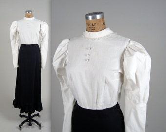 Victorian cotton day dress • antique 1800s dress • antique cotton dress (SH)