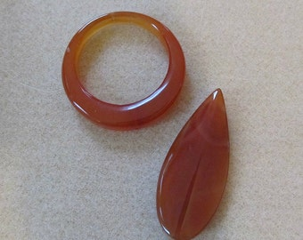DESTASH - Red Agate Pendants - Set of 2 - Jewelry Craft Supply, DIY
