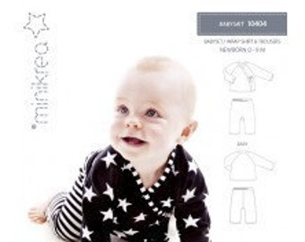 Minikrea 10404 Sewing Pattern Baby Wrap Shirt and Trousers for Newborn Babys Dänish Design