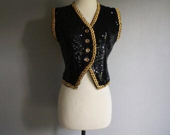 Vintage Black SEQUIN Gold Threaded CACHE Vest 80s 90s (s-m)