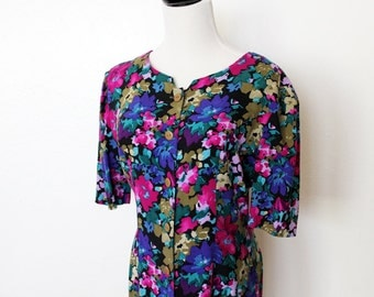 90s floral dress / purple and teal blue, short sleeve, button down, boho grunge
