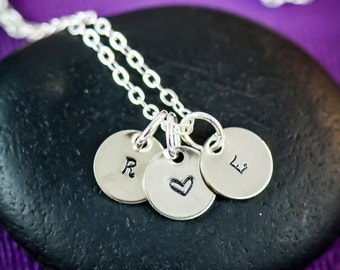 SALE -Mom Necklace - Childrens Initial Necklace - Letter Necklace - Silver Charm Necklace - Everyday Necklaces - Birthday Gift - Grandma
