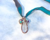Valentine sale, Lemurian Mystic Opal Pendant, Celtic Sacred Geometry spiral - quartz crystal point, iolite,amethyst,turquoise,chrysoprase