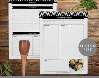 Recipe Binder Pages, Printable and Customizable DIY Templates, Editable PDF, Black and White Chevron, Instant Download