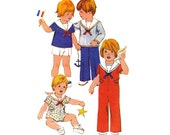 70s Toddlers Sailor Suit or Jumpsuit Pattern Simplicity 8376 Vintage Sewing Pattern Boys Or Girls Size 2 Chest 21 inches