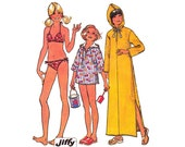 70s Girls Hooded Caftan Top & Bikini Pattern Simplicity 6994 Vintage Sewing Pattern Size 10 Chest 28 1/2  inches
