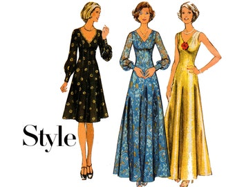 Style 4955 Boho Maxi V Neck Princess Dress 70s Vintage Sewing Pattern Size 12 Bust 34 inches UNCUT Factory Folded