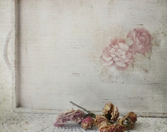 Wood Butler Serving Tray. Antique French White w Pink Mauve Peonies. Shabby Chic Cottage Tea Tray. Creative handmade 3VintageHearts.