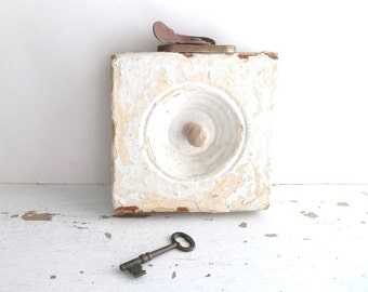 Antique Architect Wall Hook. ALmond Vanille Cream.  Vintage Industrial Urban Chic. Salvaged Architect. French Country Decor