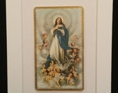 Vintage 5 x 7 Matted Religious Card -  Jesus Surrounded by Cherubs