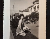 Vintage 1945 Photo - Young Woman in Two Piece Bathing Suit Kneeling in Grass
