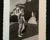 Vintage 1945 Photo - Young Woman in Two Piece Swimsuit Standing in the Grass