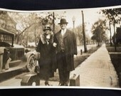 Vintage Photo - Man and Woman with Suitcases  - Old Car - Fur Collar Coat and Hats