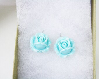 Blue Rose Earrings / Bridal Jewelry