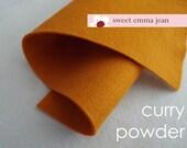 Wool Felt 1 yard cut - Curry Powder - deep yellow-orange wool blend felt