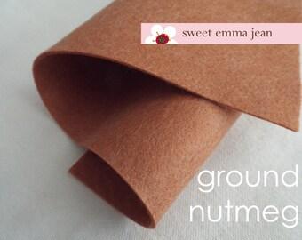 Wool Felt 1 yard cut - Ground Nutmeg - light brown wool blend felt