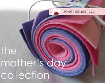 9x12 Wool Felt Sheets - The Mother's Day Bouquet Collection - 8 Sheets of Felt