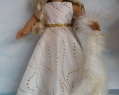 18 inch doll clothes - #221 White & Gold Gown handmade to fit the American Girl Doll - FREE SHIPPING
