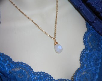 Moonstone Necklace Pendant w/ gold chain Genuine Moonstone, Smooth Simple
