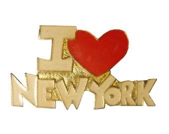 vintage I Love NEW YORK City pin button brooch I heart NY