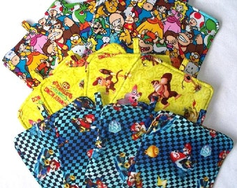 Super Mario Hot Pads,Heavy Duty,Thick Pot Holders,Your Choice of Mario and Friends, Mario Racing or Donkey Kong,Luigi,Bowser,Arcade Game