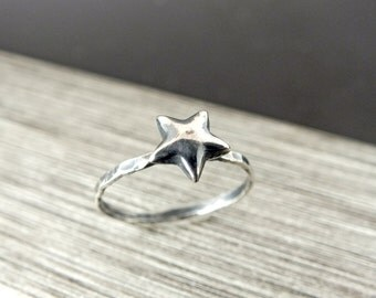 Star Stacking Ring, Sterling Silver Star Ring