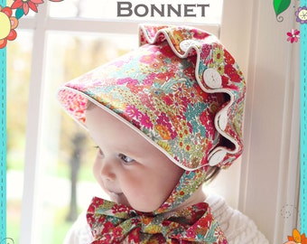 PDF Josie Mae Bonnet - Baby Girl Button Bonnet Pattern - Size Newborn - Size 4