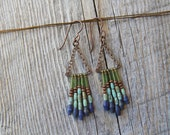 MT SHASTA. Turquoise, lapis, and glass beaded earrings.