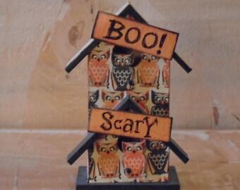 Halloween Scary Owl Birdhouse Decoration