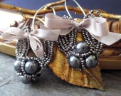 EARRINGS - vintage art deco beaded shoe clip steel cut ribbons bows flapper mourning dangle drops, the french circus by robyn parrish