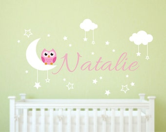Nursery Wall Decals - Owl Wall Decal - Nursery Name Decal - Nursery Room Decor - Owl Nursery Decal - Owl Wall Decal - Cute