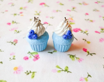 Blueberry Cupcake Earrings, Cute Earrings, Cupcake, Cute, Kawaii Earrings, Sweet Lolita, Polymer Clay, Charm Earrings, Food Earrings, Fruit