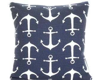 READY TO SHIP Navy Blue White Pillow Cover Decorative Throw Pillows Nautical Pillow Cushion Cover Navy Blue White Anchors Sailor One 14 x 14