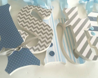 Nursery Wooden Letters for Baby Boy, ASHTENS THEME, Shades of Blue and Grey, Hanging Name Sign, Personalized Decor