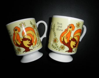 Pair of Vintage Pedestal Mugs with Psychedelic Rooster Motif - Rise and Shine