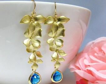 Sapphire Blue Teardrop Gold Orchids Chandelier Earrings Wedding Jewelry Bridal Earrings Gold Earrings Something Blue (ER028)