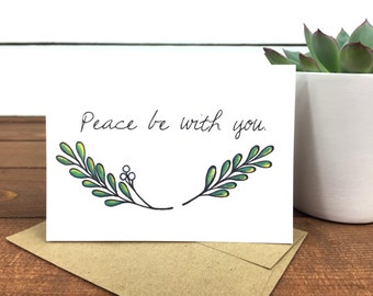 Peace Be With You Note Card Set, Sympathy Cards, Holiday Cards, Leaf Illustration, Branch, Blank Notecards - Boxed Set of 8 Cards