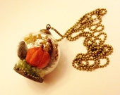 Fall Terrarium Necklace: Orange Pumpkin, Autumn Botanical Jewelry, Miniature Glass Terrarium, Moss, Pine Cone, Acorn, Nature Woodland Earthy