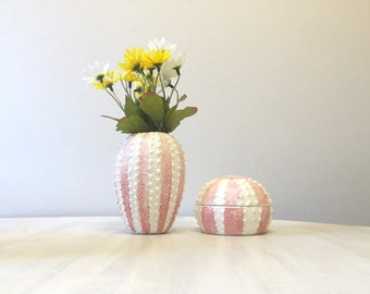 Sea anemone vase and matching trinket pot, Fine bone china vase, Fine bone china trinket pot, sea life matching set, marine ocean art