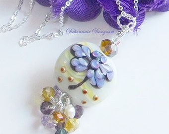 Purple Dragonfly Lampwork Necklace Swarovski Drop Dragonfly Pendant on Sterling Silver Chain Dragonfly Jewelry Summer Fashion