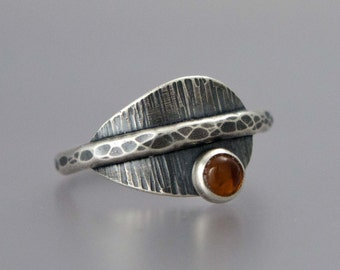 Amber and Sterling Silver Leaf Ring - Ready to Ship in Size 7.5